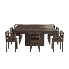 8 Chair Square Dining Table Swivel Office Depot Modern Rustic Solid Wood 64 Quot Pedestal