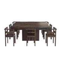 "Modern Rustic Solid Wood 64"" Square Pedestal Dining Table"