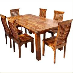 Rustic Dining Table And Chairs Hanging Chair Trolley Dallas Ranch Solid Wood Hutch Set