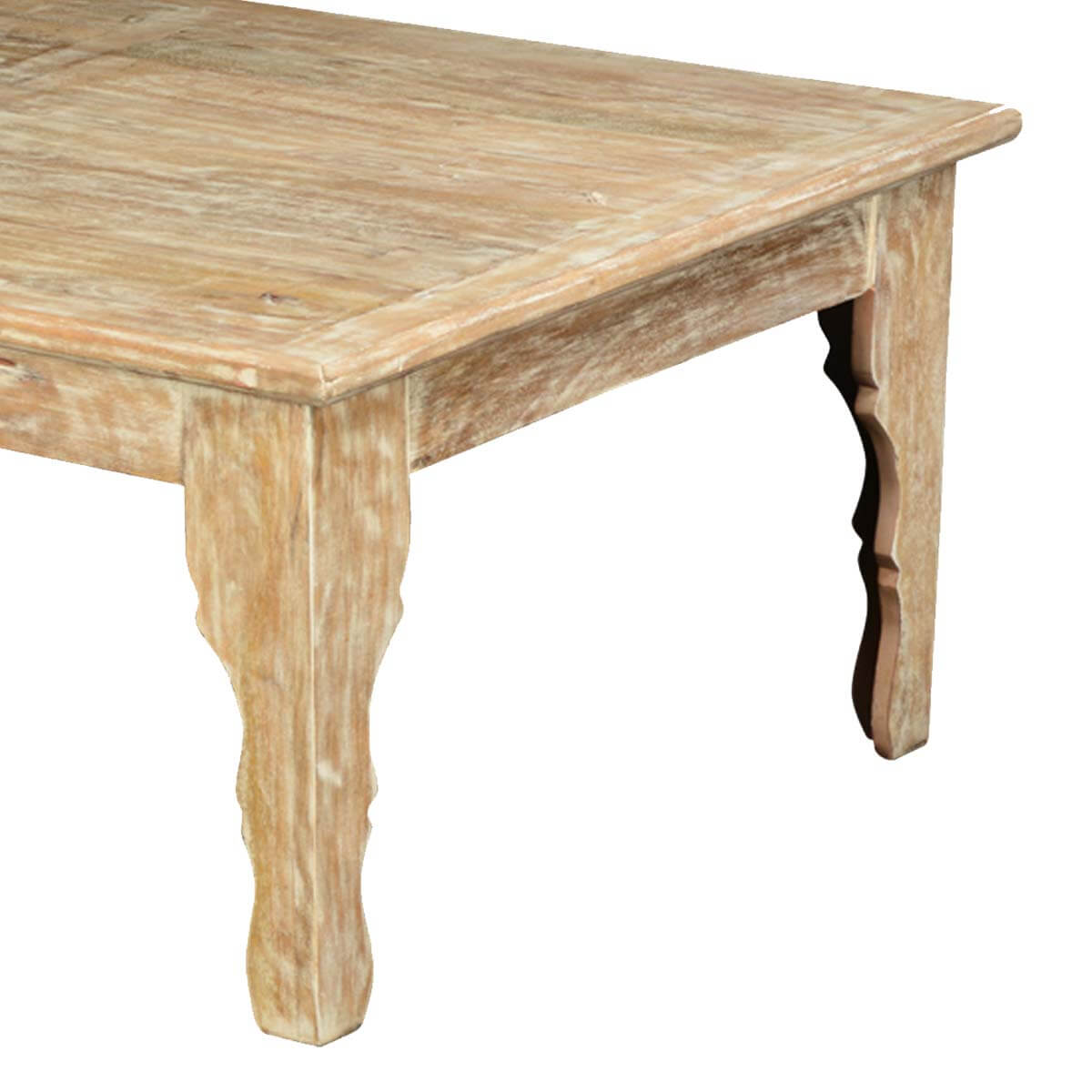 Winter White Mango Wood Rustic Coffee Table