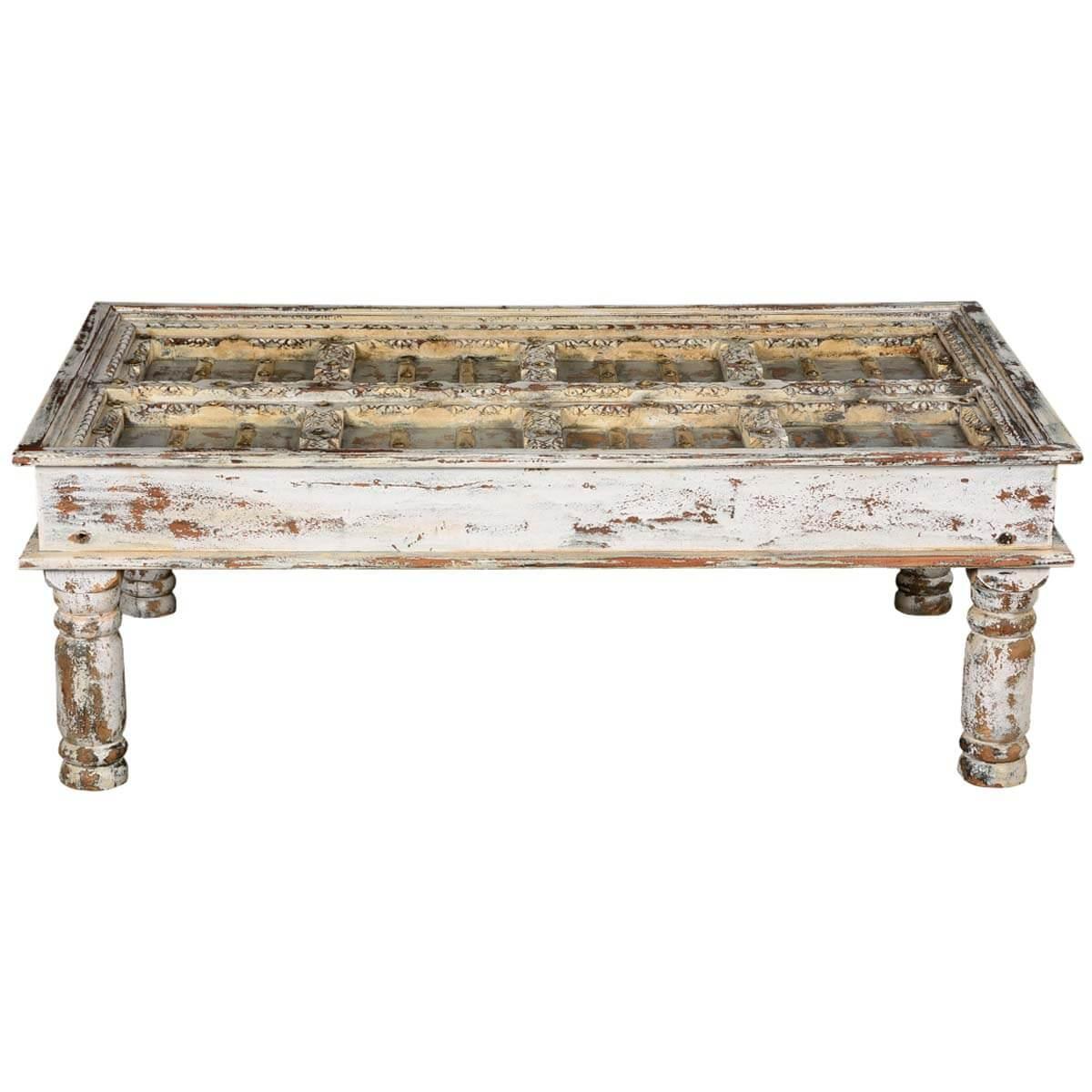 Winter White Distressed Mango Wood Coffee Table
