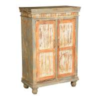 Orange White & Grey Mango Wood Nightstand Mini Cabinet