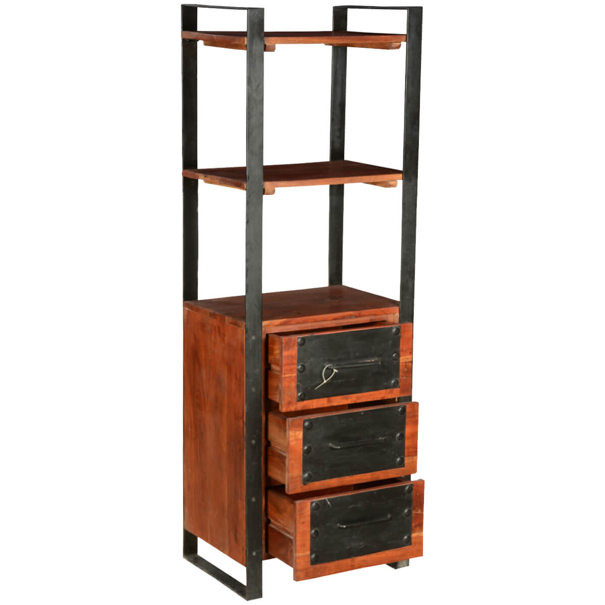 Nottingham Modern Mango Wood Amp Iron 3 Drawer 3 Shelf Tower