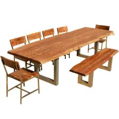 6 Chair Dining Table Office Chairs Com 117 Quot Live Edge W And Bench Acacia