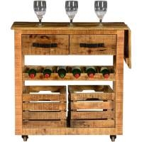 Modern Farmhouse Mango Wood Rolling Wine Bar Cart