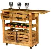 Modern Farmhouse Mango Wood Rolling Wine Bar Cart