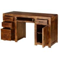 Rustic Solid Mango Wood Desks with File Cabinets