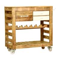 Farmhouse Simplicity Mango Wood 3 Drawer Rolling Wine Bar Cart