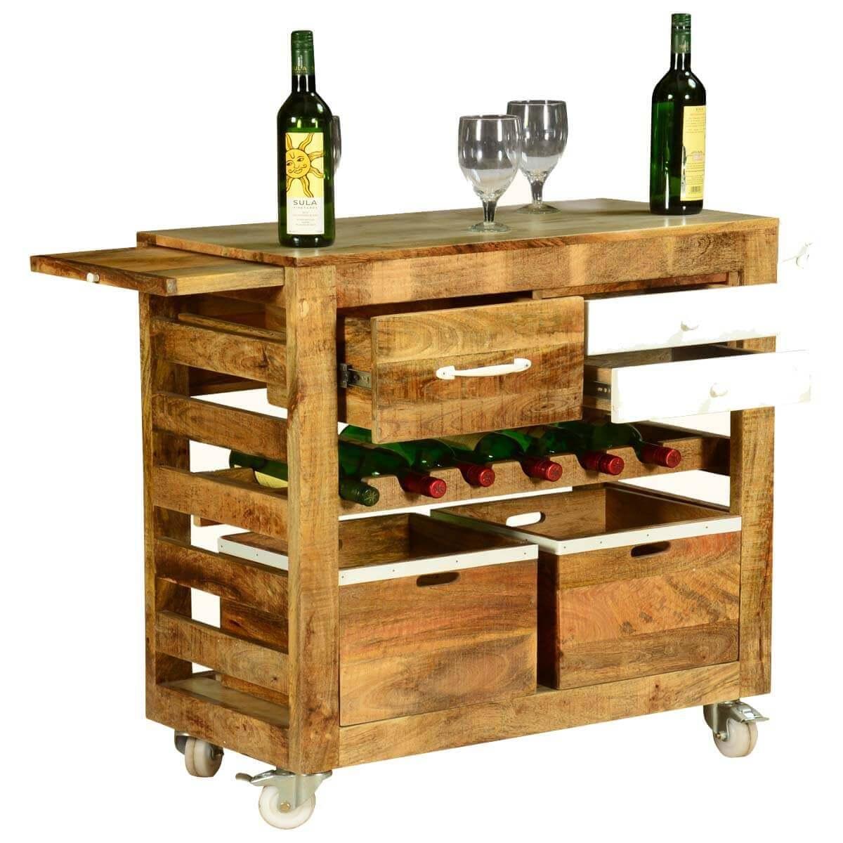 Farmhouse Simplicity Mango Wood 3 Drawer Rolling Wine Bar Cart