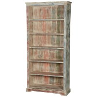 "White Washed Reclaimed Wood 6-Shelf 78.5"" Bookcase Open ..."