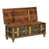 Rustic Reclaimed Wood Coffee Table Storage Trunk w ...