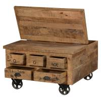 Industrial Style Solid Wood Square Storage Trunk 5 Drawer