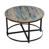 Bithlo Reclaimed Wood Top Round Industrial Coffee Table