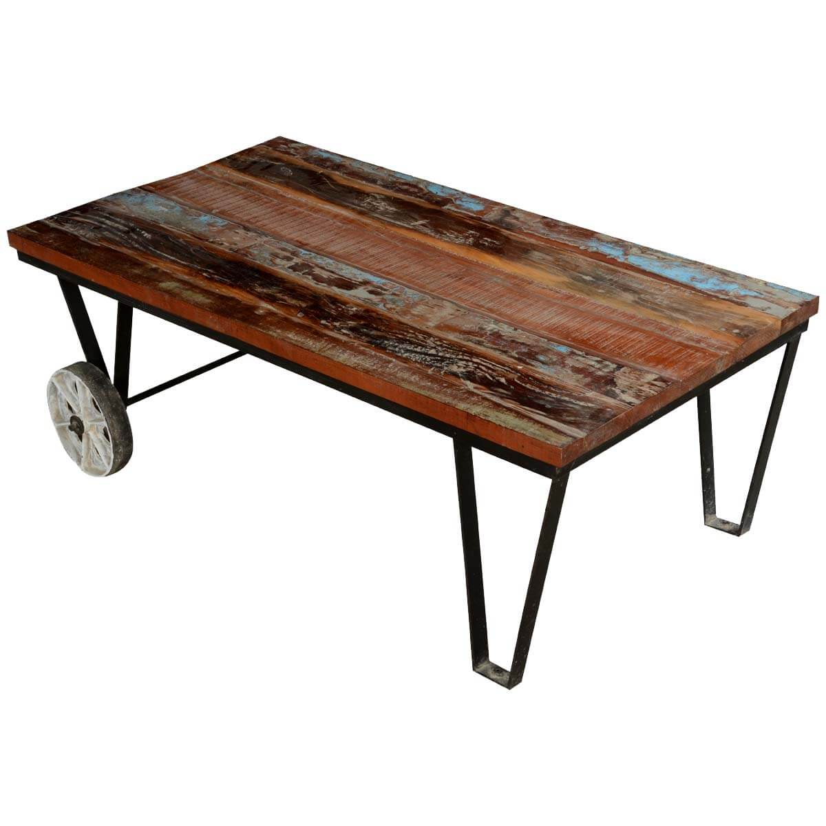 Reclaimed Wood Industrial Style Factory Cart Coffee Table