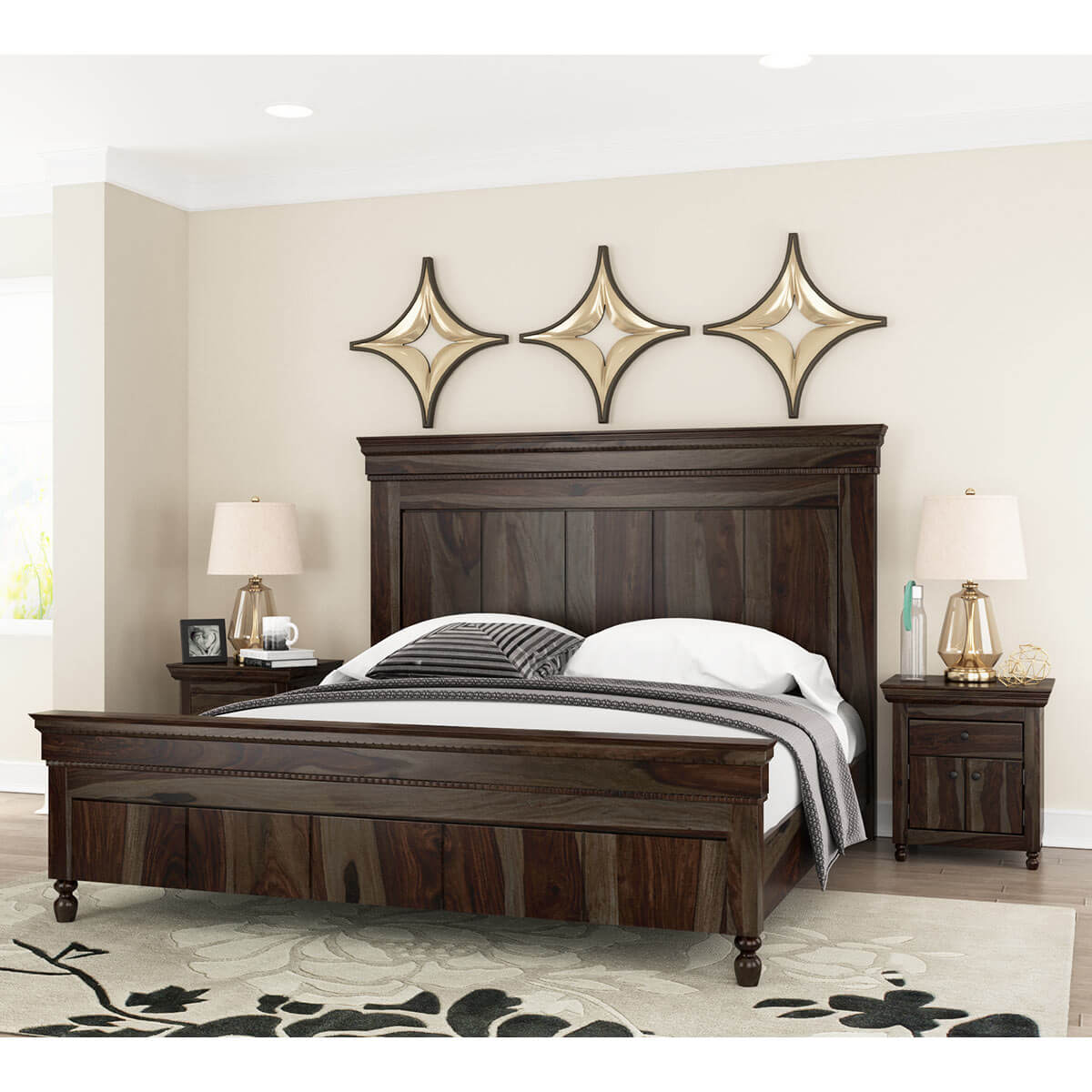 Jerold Modern Rustic Solid Wood King Size Panel Bed