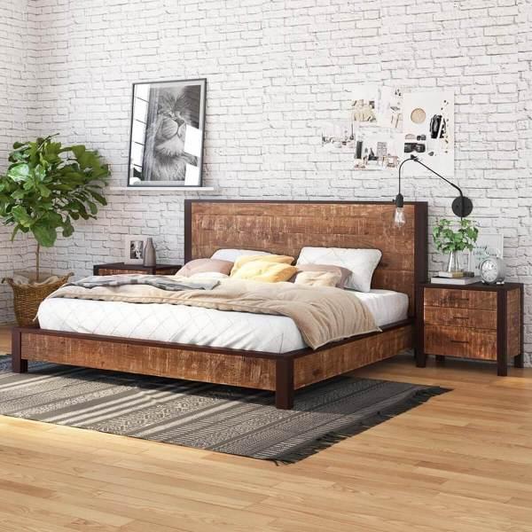 Solid Wood King Size Platform Bed Frame