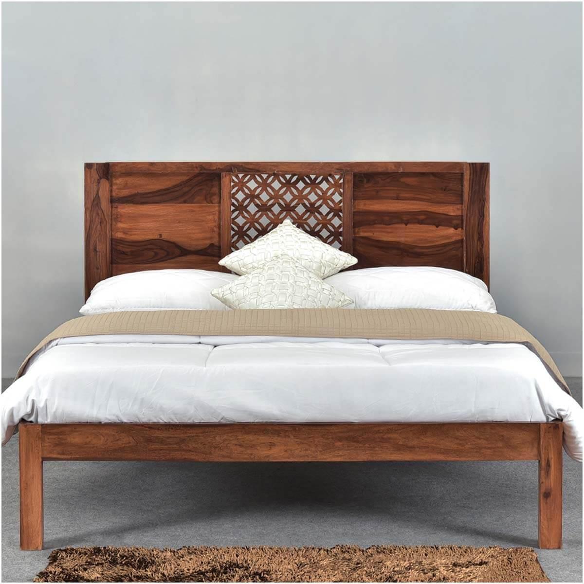 Diamond Lattice Solid Wood Rustic California King Size