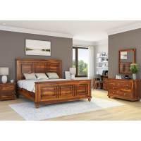 Pecos Solid Wood Full Size Platform Bed 7pc Bedroom