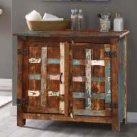 Bryant Distressed Rustic Reclaimed Wood 2 Door Storage Cabinet