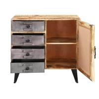 Robie Mango Wood 4 Drawers Industrial Accent Storage Cabinet