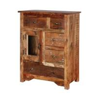 Richmond Rustic Reclaimed Wood 5 Drawers Accent Storage ...