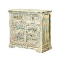 Easmor Distressed Reclaimed Wood 2 Drawer Storage Cabinet