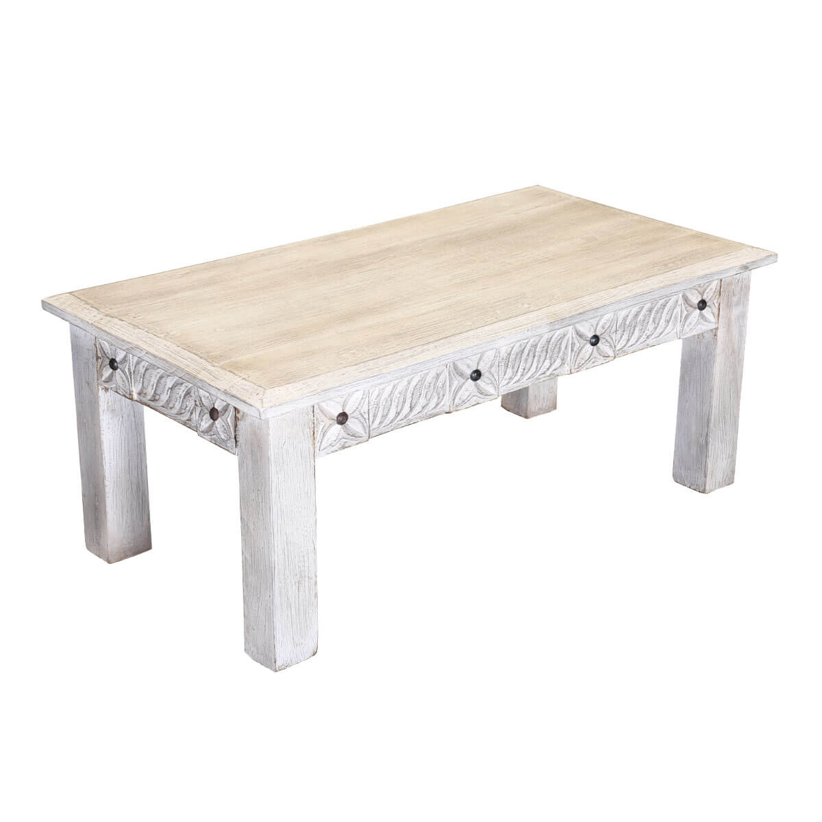 "Winter White 43"" Tudor Reclaimed Wood Rustic Coffee Table"