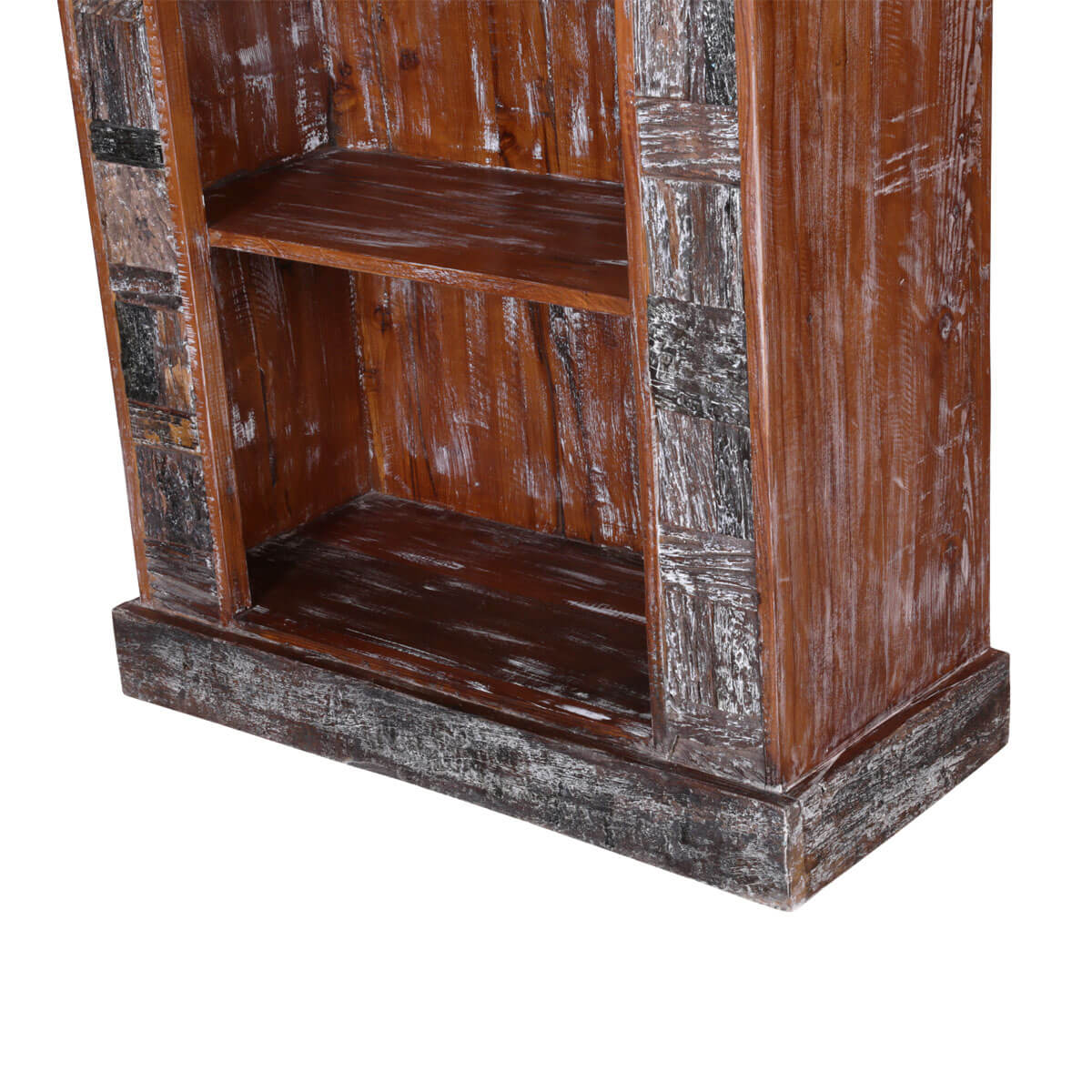 Boone Hand Carved Reclaimed Wood 3 Shelf Rustic Bookcase