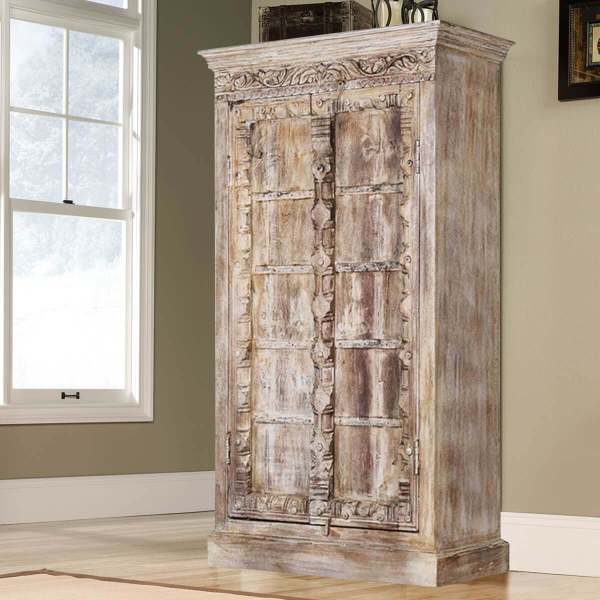Antique White Rustic Reclaimed Wood Double Door Armoire