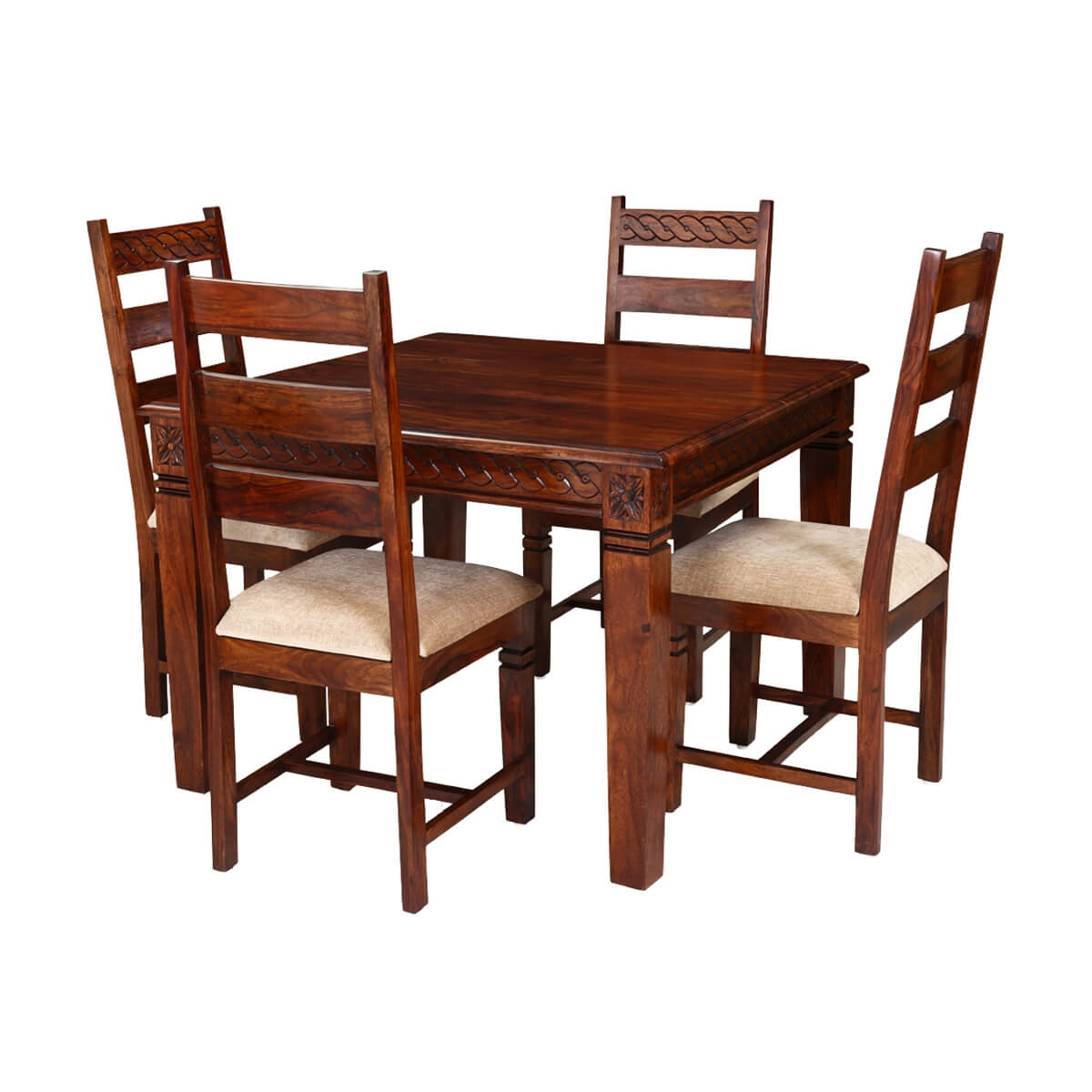 solid wood dining table and chairs gray wicker chair handcrafted 5pc square set