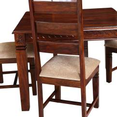 Solid Wood Dining Table And Chairs Back Arch Support For Chair Handcrafted 5pc Square Set
