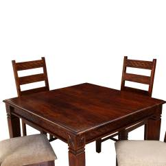 Solid Wood Dining Table And Chairs Ergonomic Office Uk Reviews Handcrafted 5pc Square Chair Set