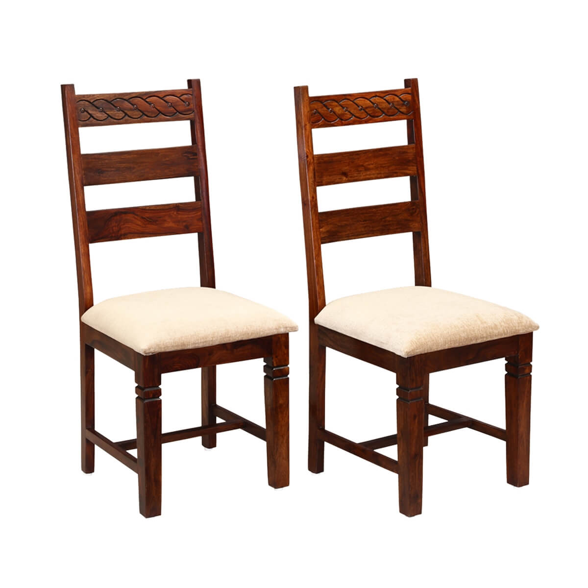 unfinished ladder back chairs la z boy office chair big and tall handcrafted solid wood 2pc upholstered