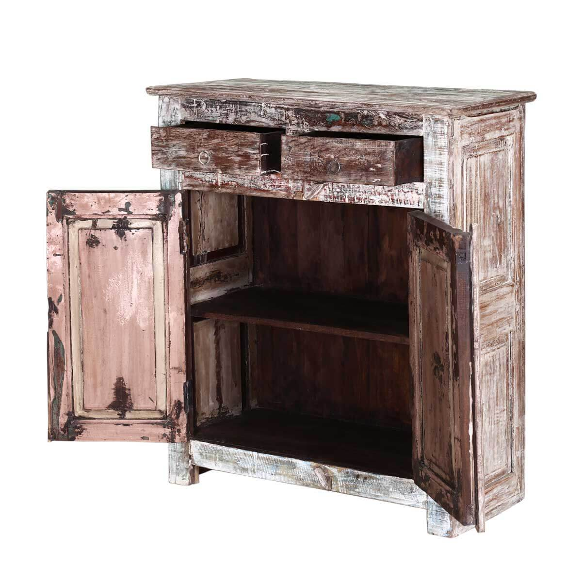 Davisson Distressed Reclaimed Wood 2 Drawer Accent Cabinet