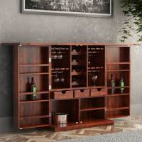 Richmond Rustic Solid Wood Expandable Bar Cabinet with ...