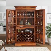 Ohio Rustic Solid Wood Tall Wine Bar Cabinet