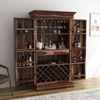 Ohio Rustic Solid Wood Tall Wine Bar Cabinet