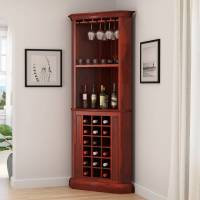 "Louis 76"" Rustic Solid Wood Corner Bar Cabinet"