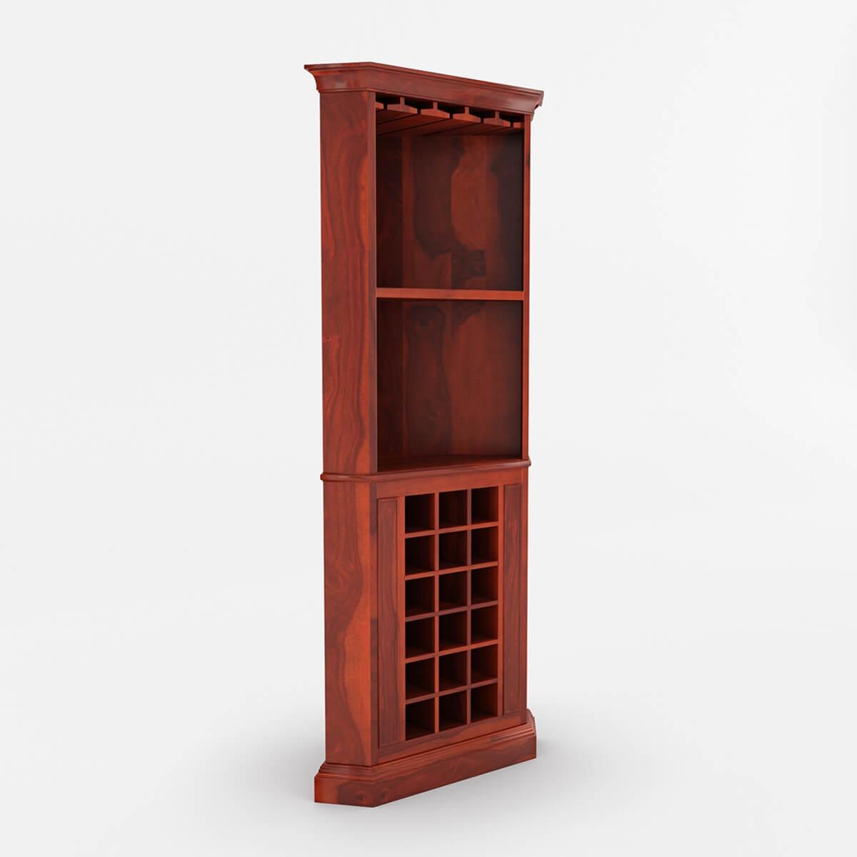 "Louis 76"" Rustic Solid Wood Corner Bar Cabinet"