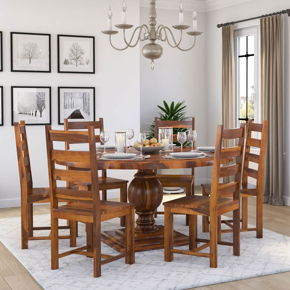round table 6 chairs dimensions folding rocker lawn cloverdale solid wood dining with set