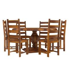 Round Dining Table For 6 Chairs Pink Folding Chair Cloverdale Solid Wood With Set