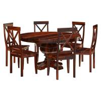 Missouri Solid Wood Round Pedestal Dining Table and Chairs