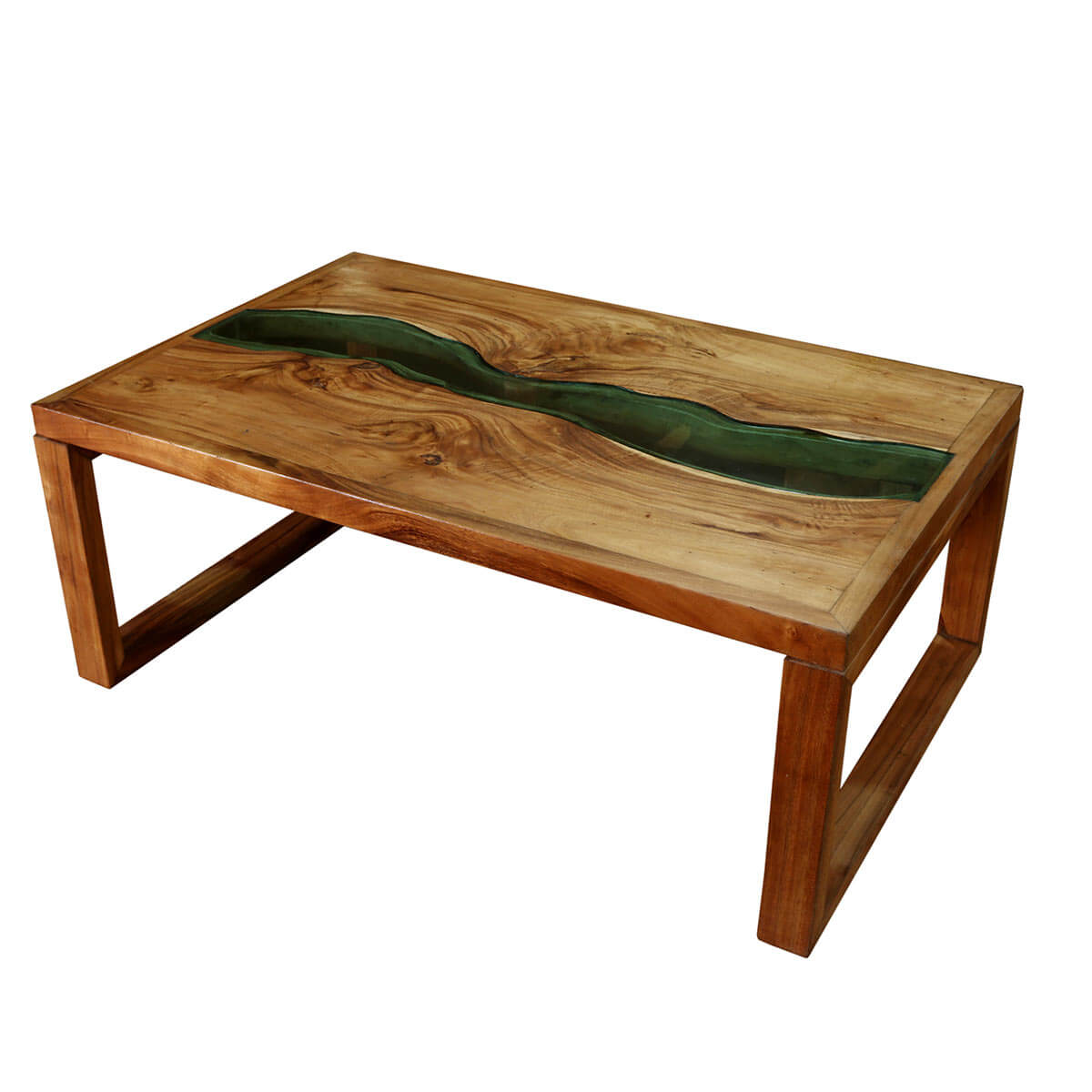 Milwaukee Suar Wood Glass Top Rustic Coffee Table
