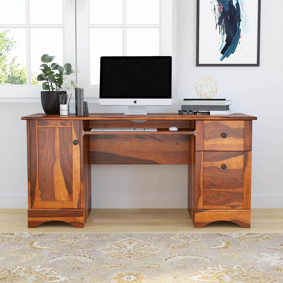 Gisela Rustic Solid Wood Computer Desk With Cabinet  Drawers