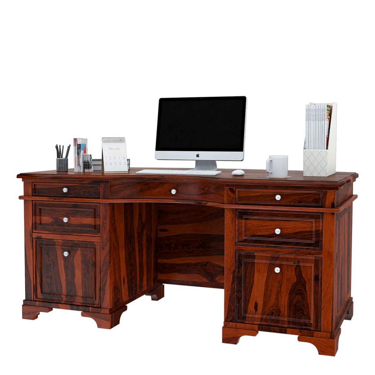 Victorian Style Rustic Solid Wood Executive Desk
