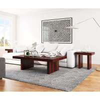 Contemporary Rustic Wood 3 Piece Large Coffee Table and ...