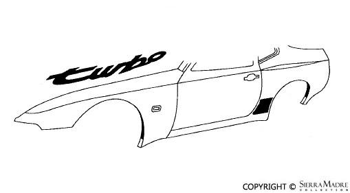 Porsche Parts 944 Turbo Fender Decal, Black (85-91)