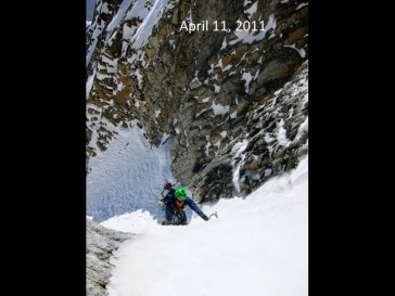 Ice climbing through the choke on ascent...