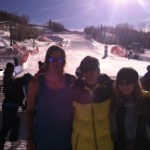 """Mammoth Ski Cross at the Finish of the Telluride Ski Cross World Cup. Left to Right: Tyler Wallasch, Nico Monforte (Cousin of John Teller and SXcompetitor), and Madeline Riffel."