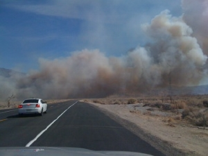 Fire approached Hwy 136.  Photo by Dennis Mattinson.